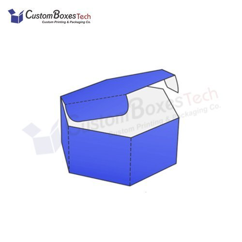 Custom Hexagonal Attached Lid Boxes
