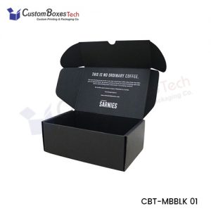 Custom Black Mailer Packaging Boxes